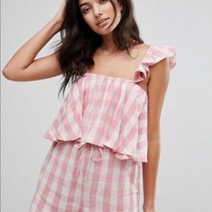 NWT ASOS Gingham with frill detail crop top